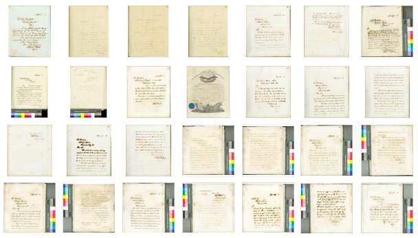 Collection of papers related to Abraham Lincoln with colour bars.