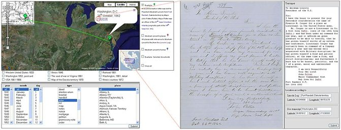 Abraham Lincoln papers, an example of a letter sent from the Dakota territory to Washington DC.